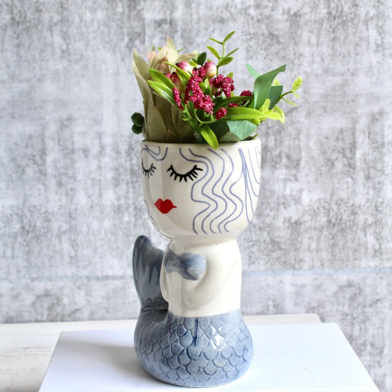 Blue Mermaid Planter Pot