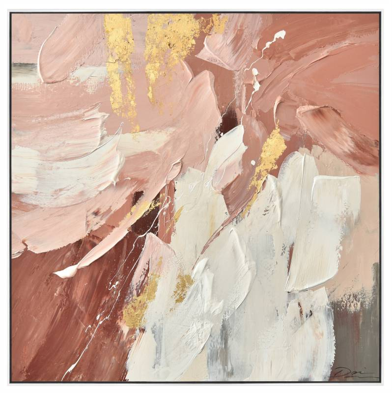 Pink Abstract Framed Canvas Wall Art