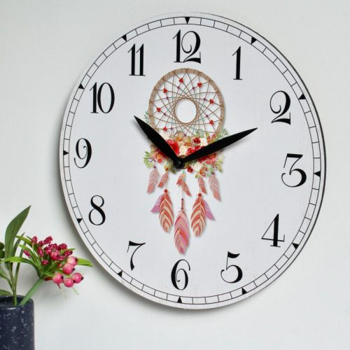 Pink Dream Catcher Wooden Wall Clock