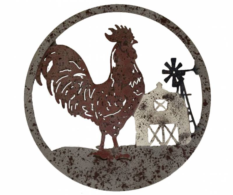 Round Rooster Windmill Metal Wall Art