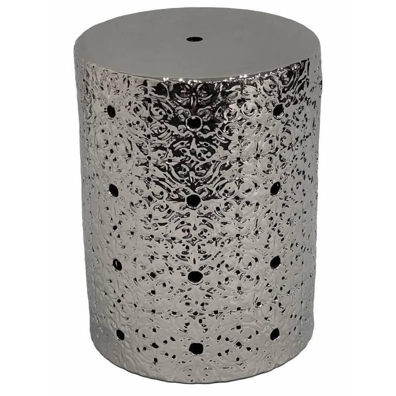 Round Silver Ceramic Accent Stool
