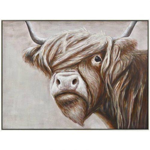 Scottish Highland Cow Framed Canvas Wall Art