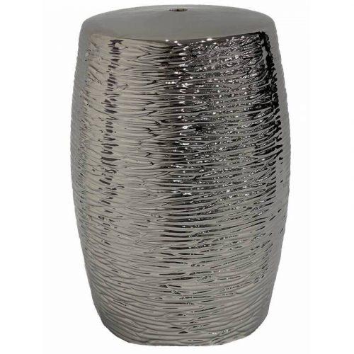 Silver Ceramic Accent Stool