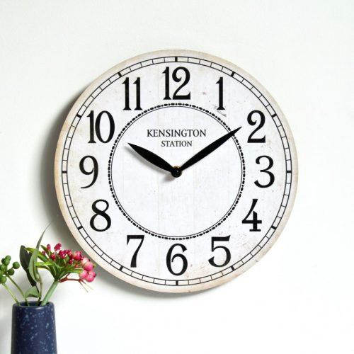 White Kensington Wooden Wall Clock