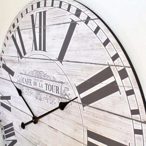 XL Large French Cafe Wooden Wall Clock