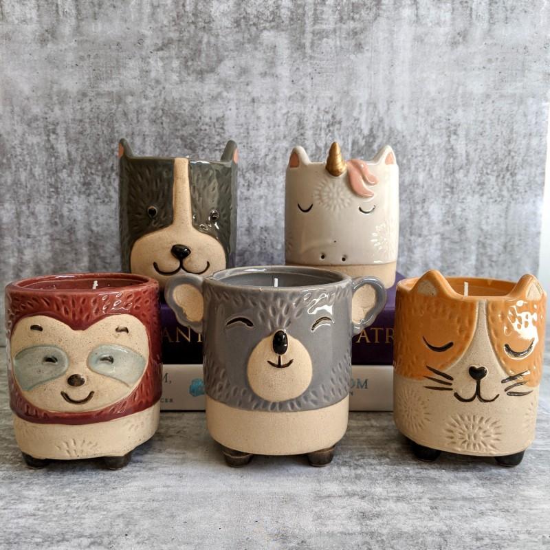 Animal Ceramic Candle - Sloth, Koala, Dog, Cat, Unicorn
