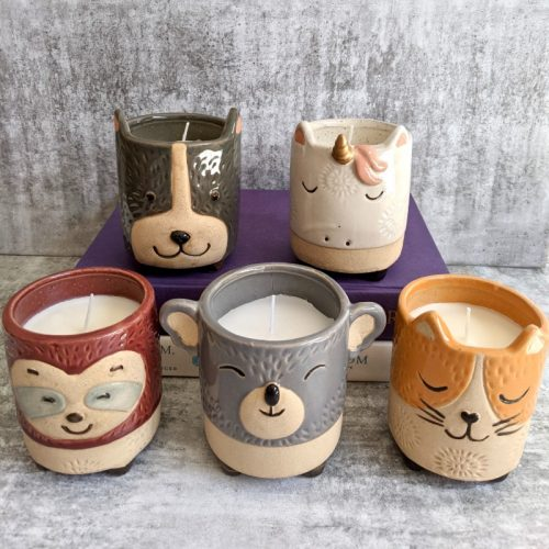Animal Ceramic Candle - Sloth, Koala, Dog, Cat, Unicorn