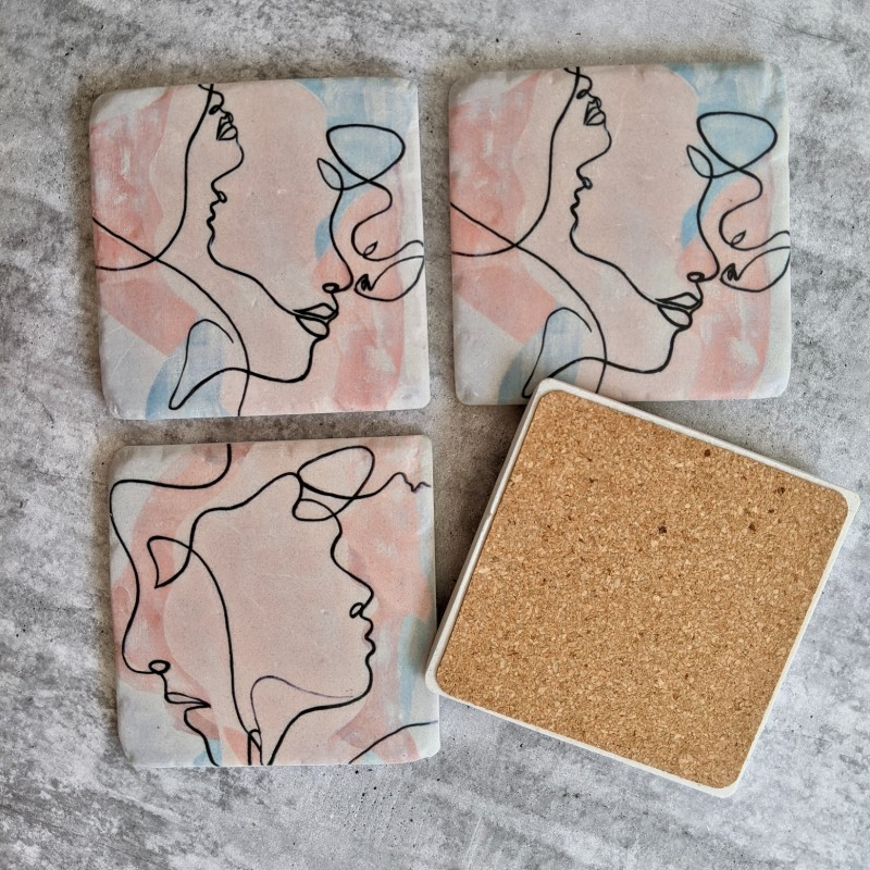 Abstract Face Pattern Drink Coaster - Set of 4