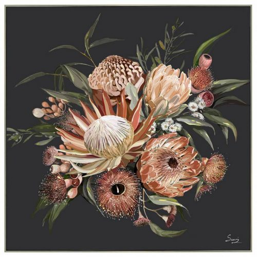 Black Floral Bunch Framed Canvas