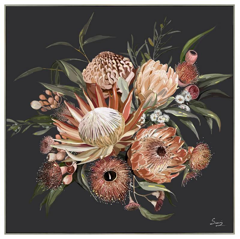 Black Floral Bunch Framed Canvas