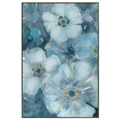Blue Flowers Framed Canvas