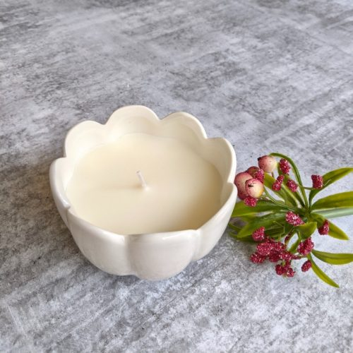 Floral White Ceramic Candle Jar