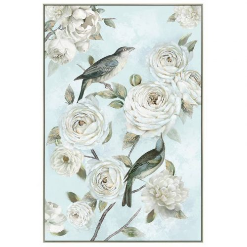Flower Birds Framed Canvas