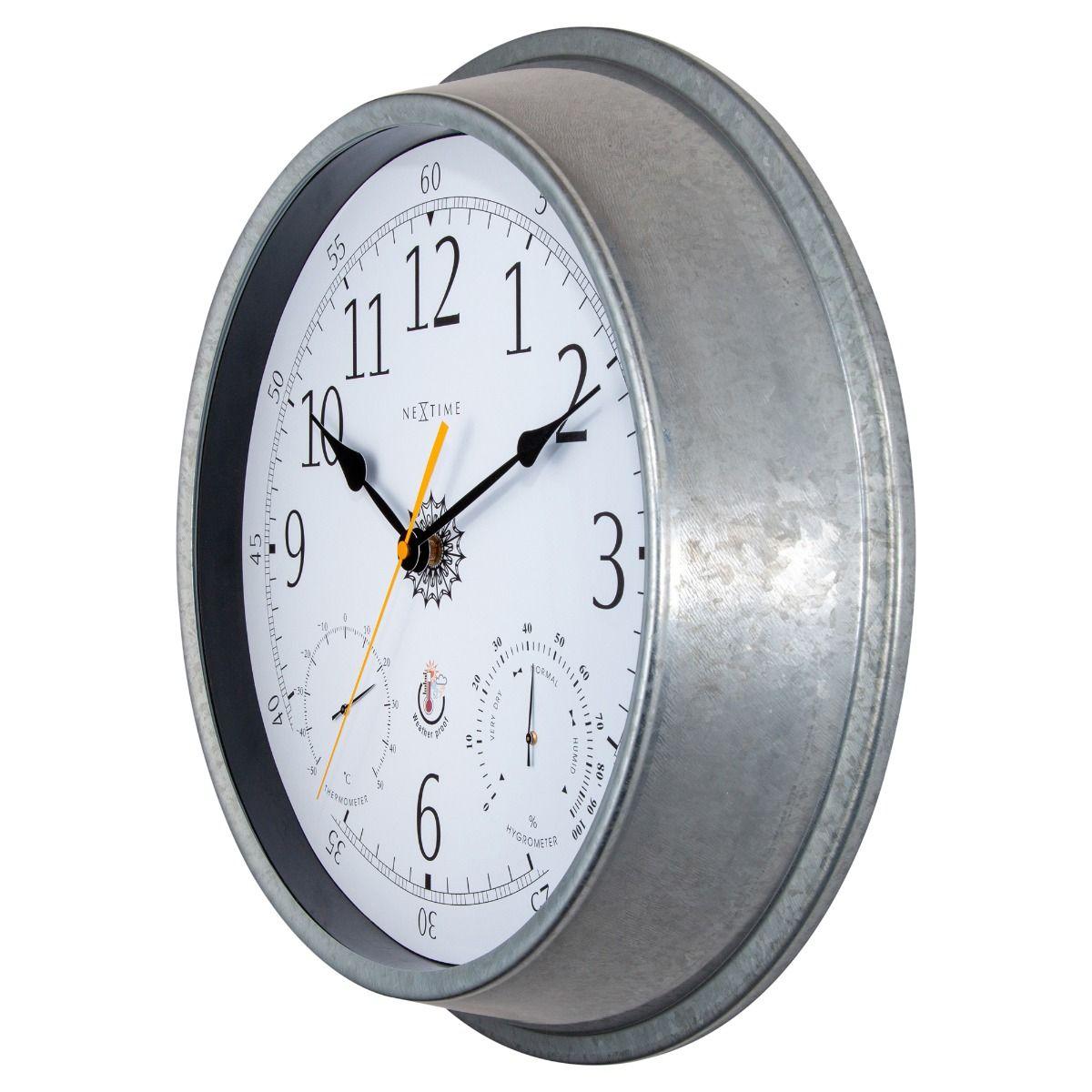 Galvanised Metal NeXtime Outdoor Wall Clock