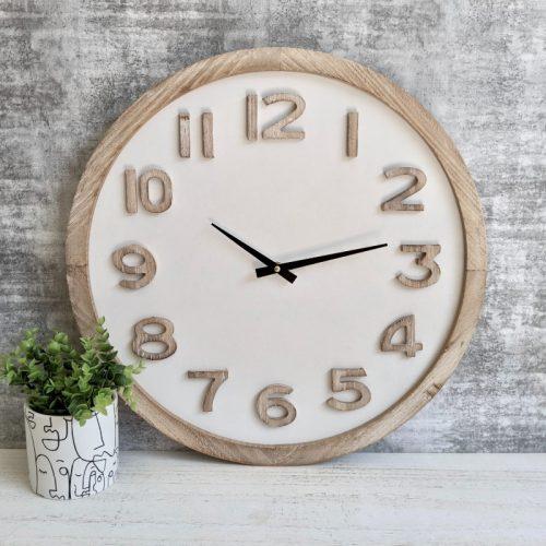 Hamptons Natural White Wooden Wall Clock