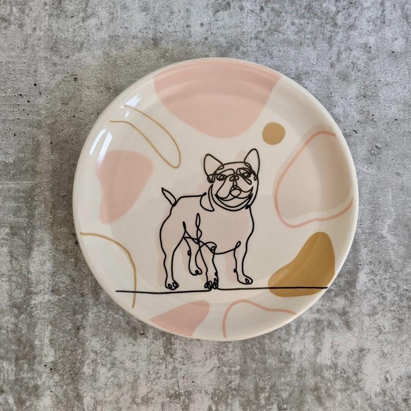 Linear Cat Dog Ceramic Trinket Dish