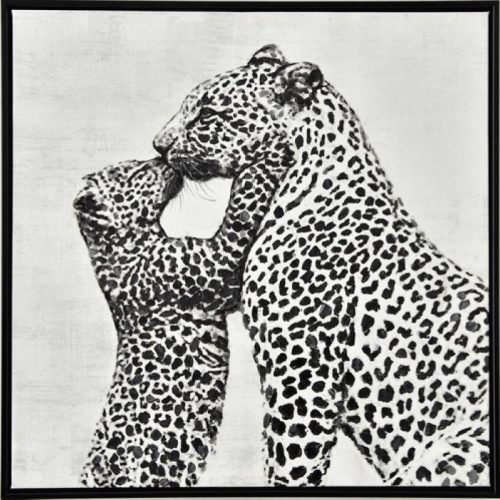 Loving Leopard Framed Canvas Animal Print Wall Art