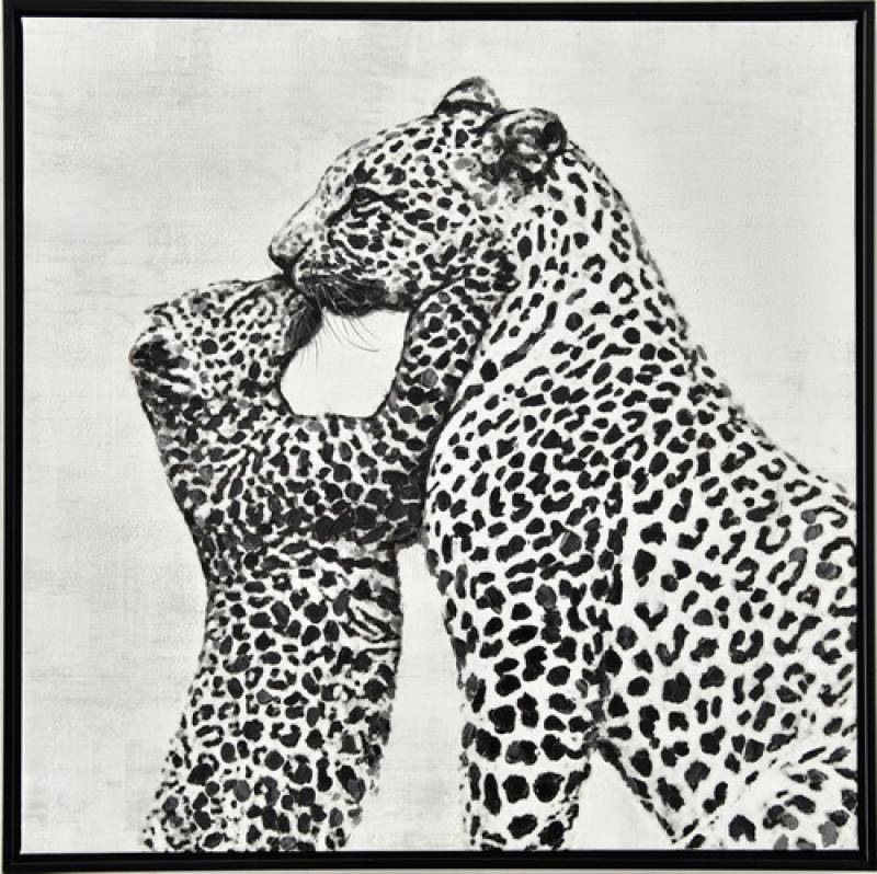 Loving Leopard Framed Canvas Animal Print Wall Art