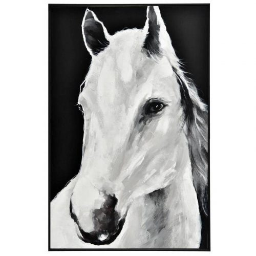 Monochrome Horse Framed Canvas