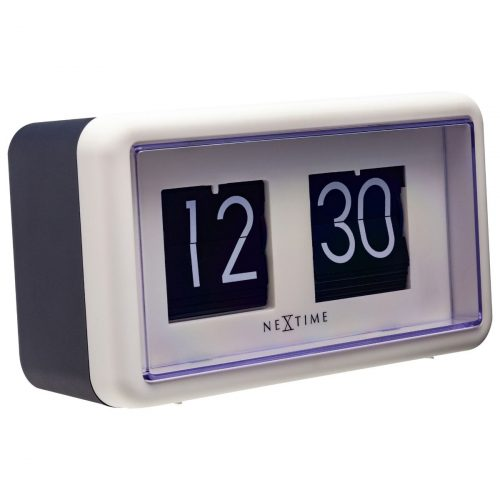 NexTime Black White Small Flip Table Clock