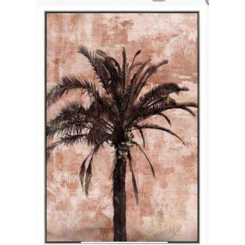 Pink Palm Tree Framed Canvas