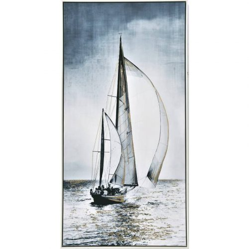 Sailers on Boat Framed Canvas Wall Art