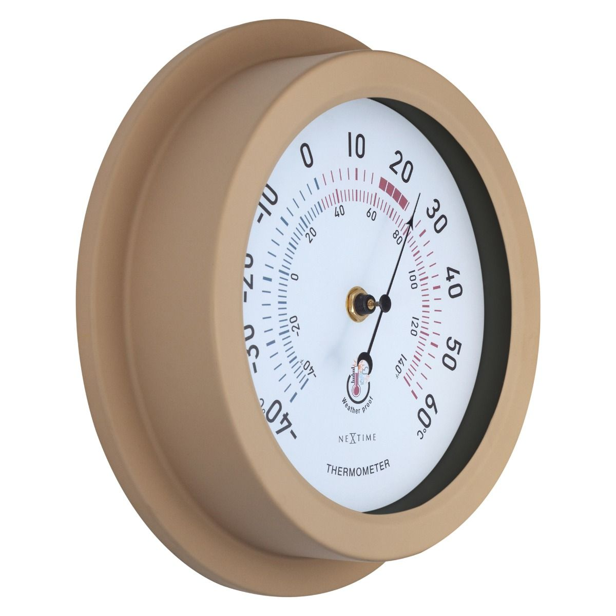 Small Brown Metal NeXtime Outdoor Thermometer