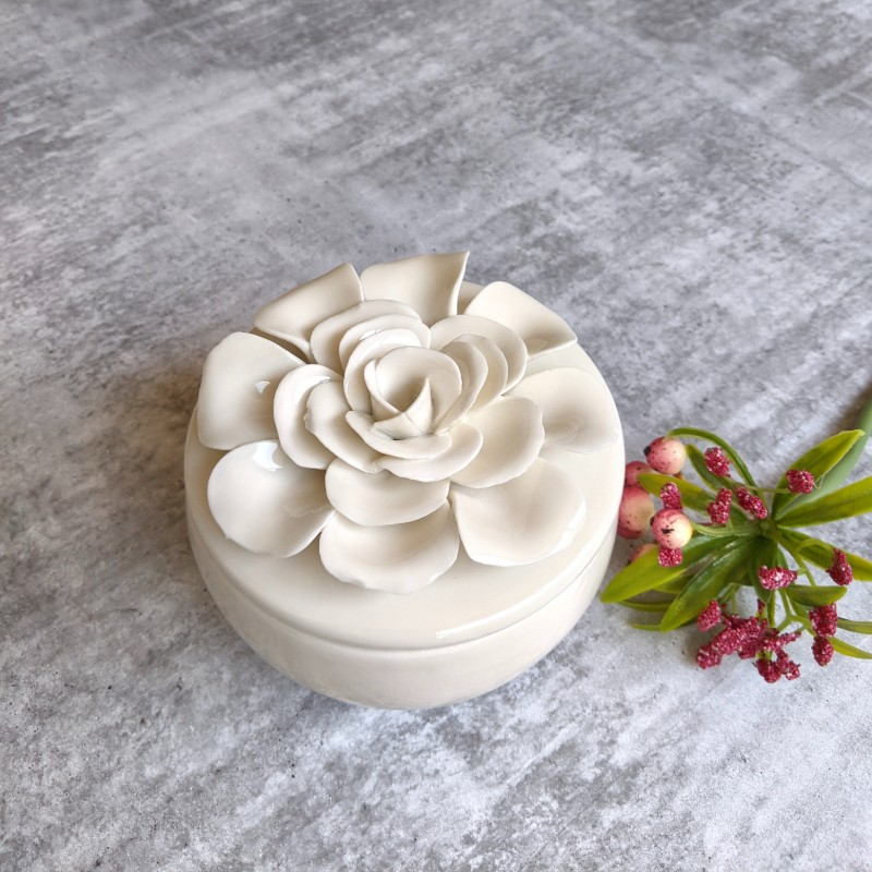 White Flower Ceramic Candle Jar
