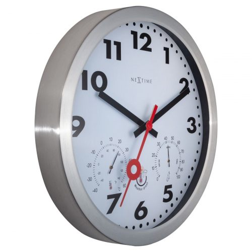 White Silver NeXtime Outdoor Silent Wall Clock