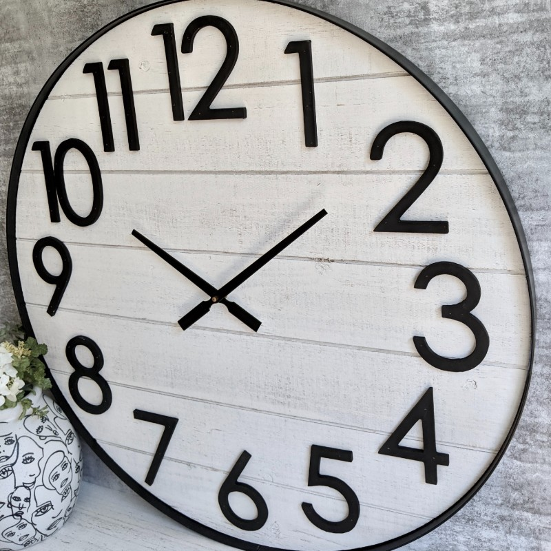 XL Large Coastal White Wooden Wall Clock