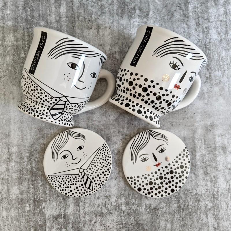 Girl Boy Ceramic Tea Coffee Mug with Coaster
