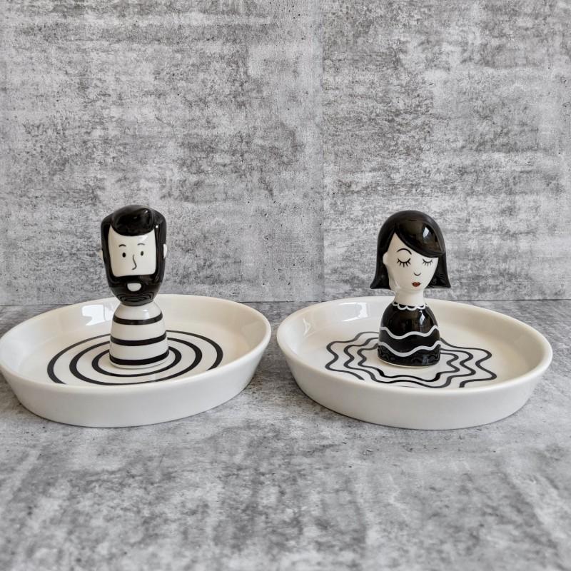 Girl Boy Ceramic Trinket Dish