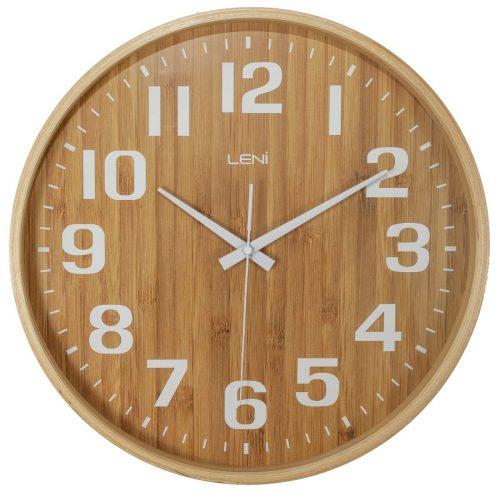 Leni Bamboo Silent Glass Wall Clock