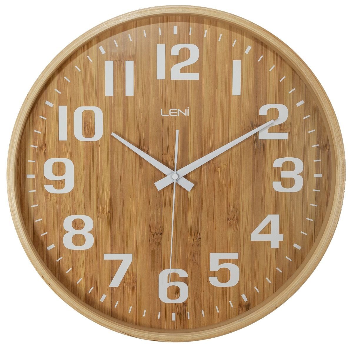 Leni Bamboo Silent Glass Wall Clock