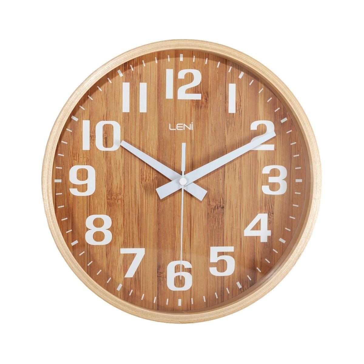 Leni Natural Bamboo Silent Glass Wall Clock