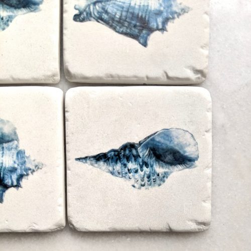 Sea Shell Hamptons Blue Drink Coaster - Set of 4