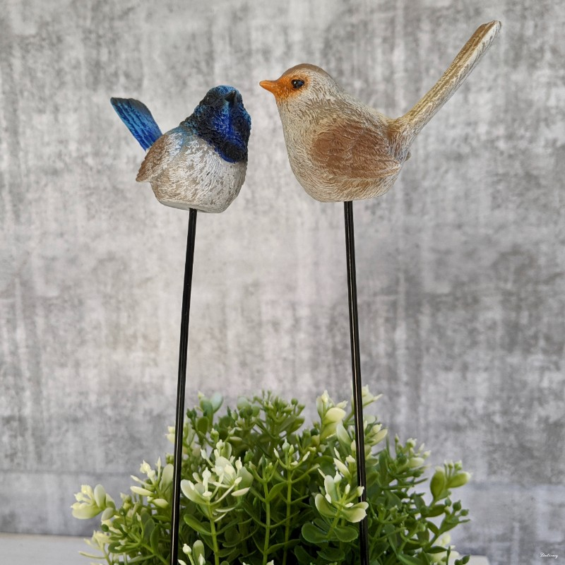 Blue Brown Wren Bird Pot Sitters On Stick- Set of 2