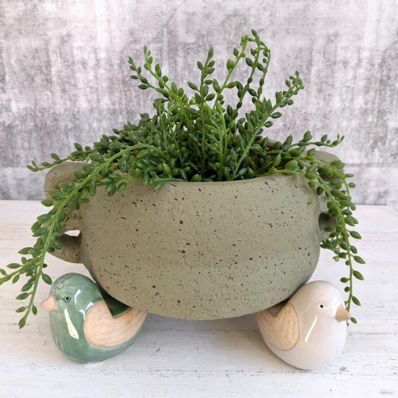 Green Grey White Bird Pot Planter Feet - Set of 3