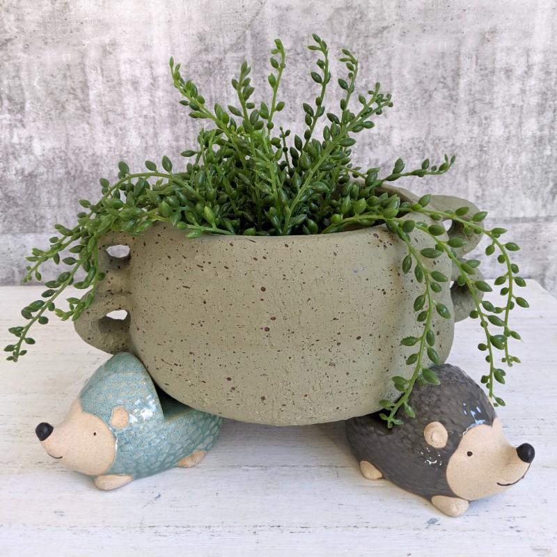 Blue Grey White Echidna Pot Planter Feet - Set of 3