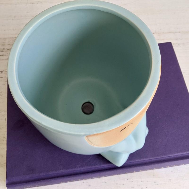 Blue Sitting Boy Face Planter Pot