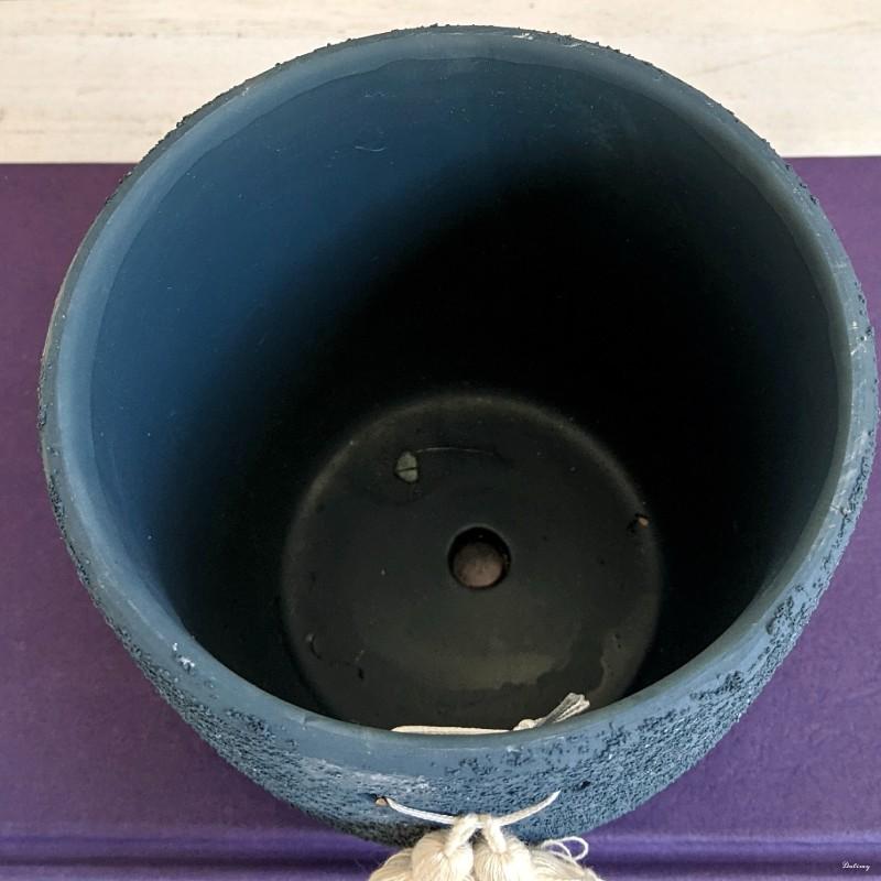 Navy Blue Tassels Ceramic Planter Pot