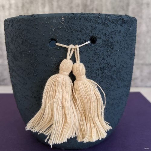 Navy Blue Tassels Ceramic Planter Pot