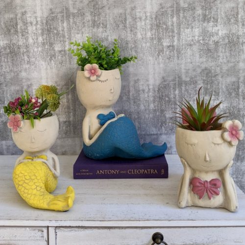 Blue Yellow Pink Mermaid Planter Pot
