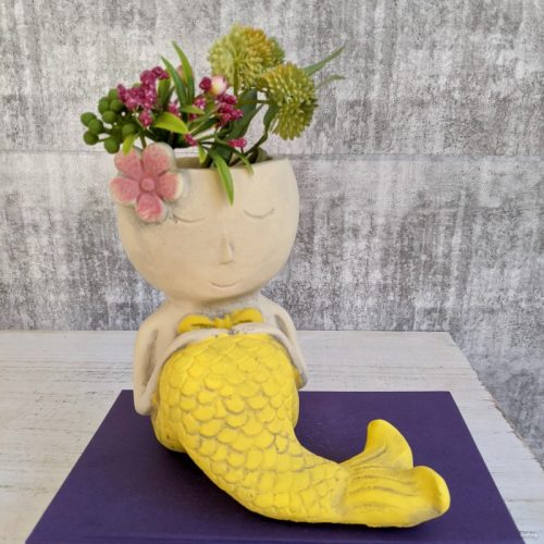 Blue Yellow Pink Mermaid Planter Pot