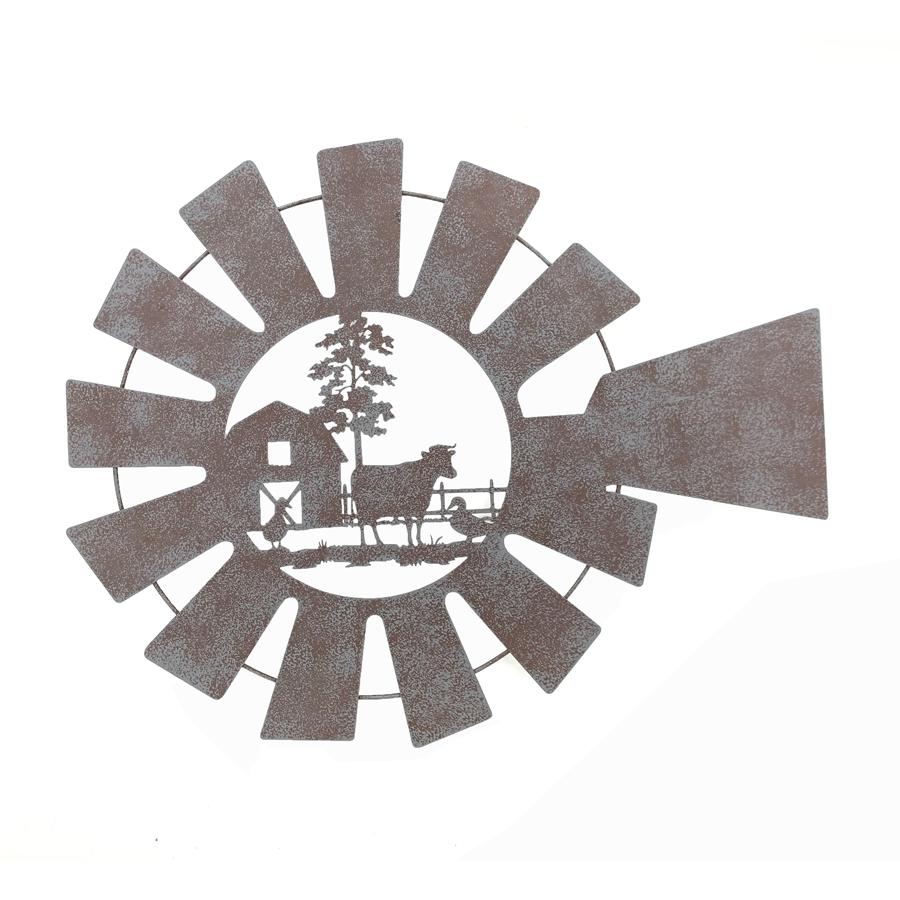 Country Barn Cow Windmill Metal Wall Art