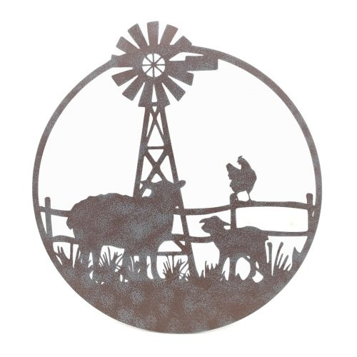 Country Sheep Rooster Windmill Metal Wall Art