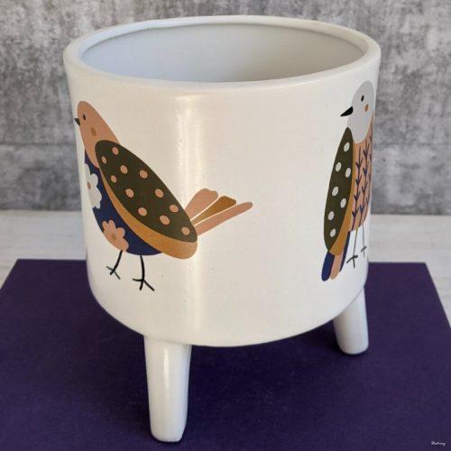 Floral Bird Planter Pot on Legs