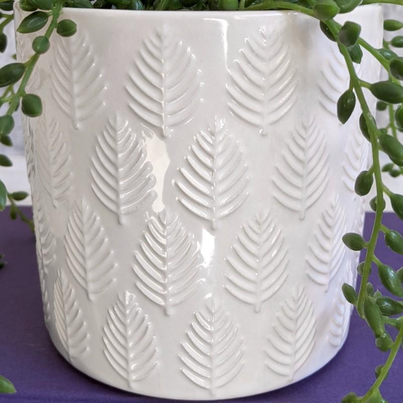Glossy White Leaves Planter Pot