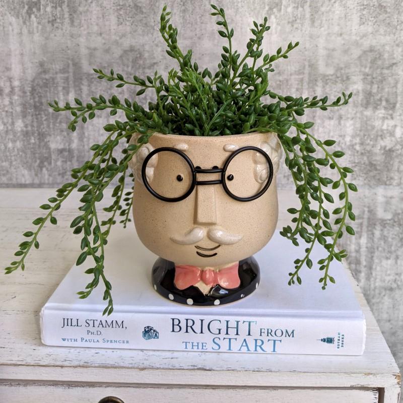 Grandpa with Glasses Face Head Pot Planter