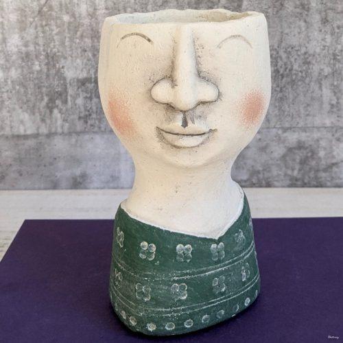 Green Blue Concrete Man Planter Pot